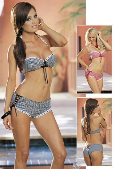 Gingham Bra Top & Boy Short Set. Size S,M,L.