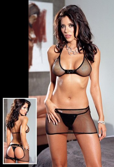 Fishnet Open Back Bra and Skirt Set with Vinyl Accents. One Size.