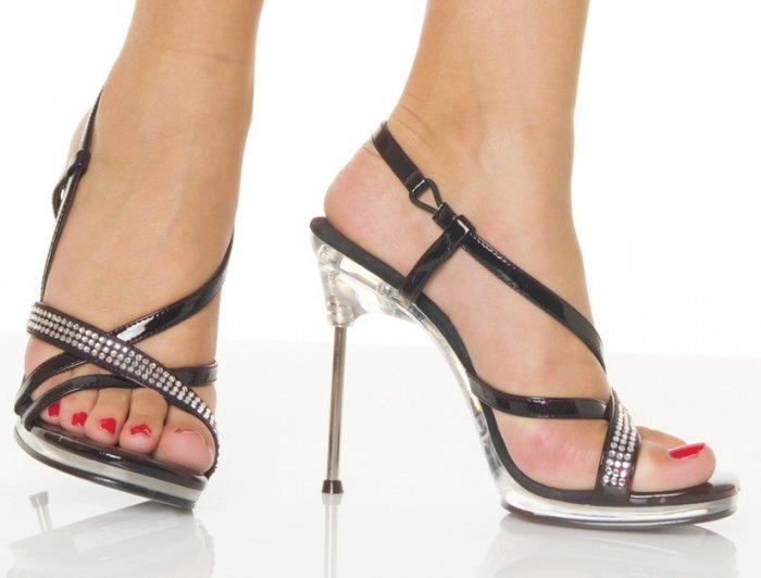 Women's Stiletto Heels/Shoes with Crisscross Rhinestone Straps Size 6-10
