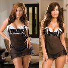 Reversible Mesh Babydoll Set with Lapel Accents