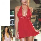 Knit Chiffon Halter Babydoll with Rose Accented Midriff