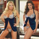 Velvet Babydoll Set with Crystal Embellishments - Navy