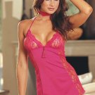 Lace Accented Halter Babydoll Set with Front Tassel