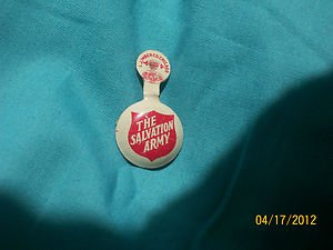VINTAGE SALVATION ARMY CHARITY GIVEAWAY TIN LITHO OLD LAPEL PRESS PIN!!