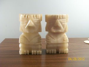 AZTEC ALABASTER MARBLE BOOKENDS FROM MEXICO!