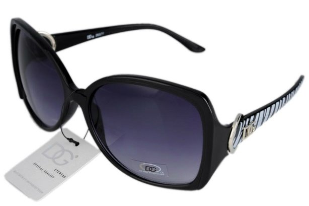 DG Eyewear Black w/ Grey Zebra Print Retro  SUNGLASSES