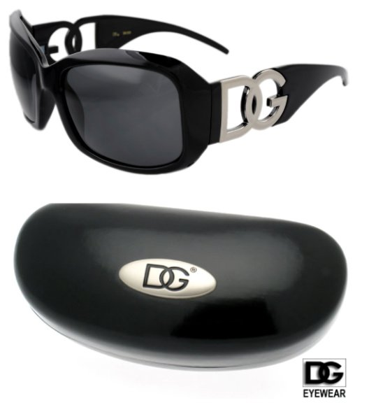 1 DG Eyewear Black Sunglasses & 1 DG Black Hard Case