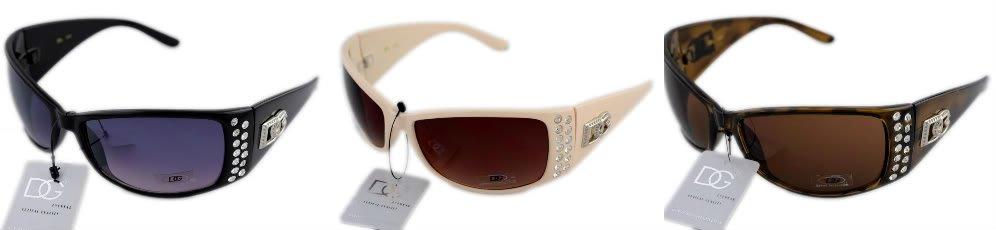 3 DG Eyewear  Rhinestone1-Blk 1-Brn 1-Cream Sunglasses