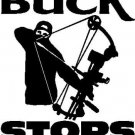 """Bow Hunting Sticker 5.5x8"""" THE BUCK STOPS HERE!"""