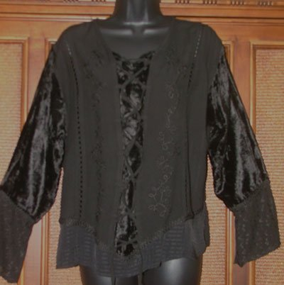 Jet Black Faux Lace Front Gothic Look Blouse