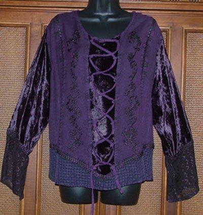 Royal Purple Funky Hippie Faux Laces Top