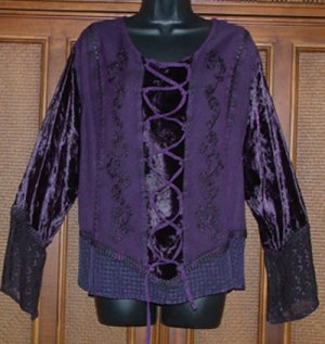 Royal Purple Funky Hippie Faux Laces Top
