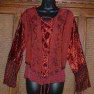 Xlnt Details! FAB Faux Lace Gothic Blouse Red