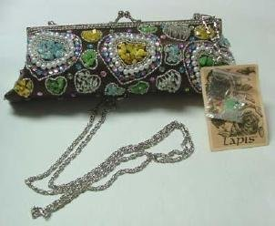 "Darling NWT Artsy Lapis ""Stoned"" Beaded Handbag"