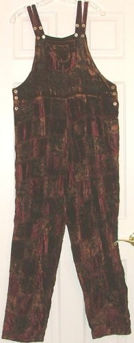 Fabulous $90 Earthy Velvet Patchwork Hippie Overalls Large