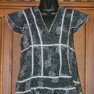 Funky HIppie Fluttery Sleeve Flower Button Top Large