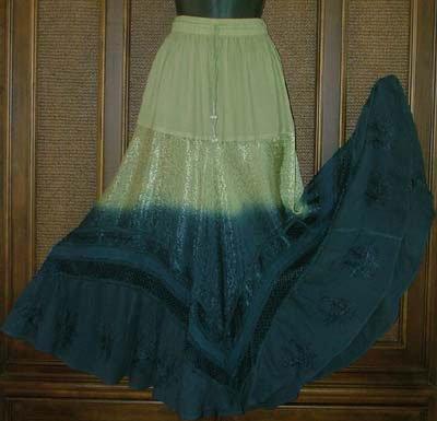 Gradient Dye Hippie Festival Skirt Pistach & Blue