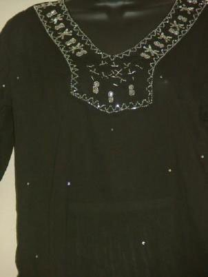 Jet Black FAB Beaded Netting & Sequins Unique Tunic Med