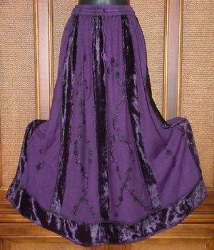 Gorgeous Velvet Piecing Twirlly Gypsy Skirt