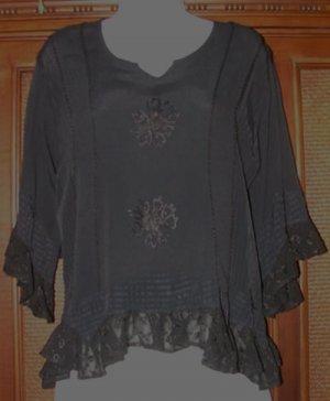 Lace Back Boho Gypsy Top Black