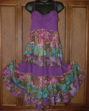 Artsy Pieced Cute Ruched Bust Sun Dress Purple M or XL