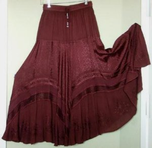 SALE Deep VEE Huge Sweep Dancer Skirt Brown