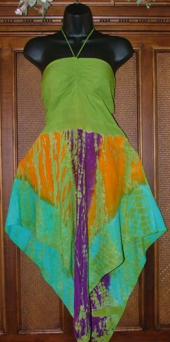 Pointy Skirted Bottom Hippie Halter Top Lime Green