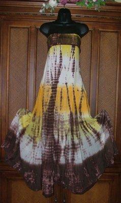 Funkygarb Long Godet Tie Dye Dresses Fancy Colors S-XL Free US Ship