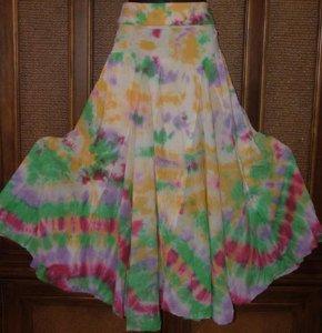 Funkygarb Rainbow Tie Dye Colors Full Spinny Skirt S-XL