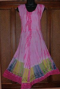 Cute Tie Dye Dress In Pink Ruched Top OSFA Blowout!