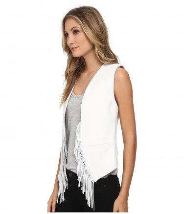 Rebecca Minkoff New White Fringe Boho Leather Vest M
