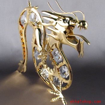 24k GOLD PLATED SWAROVSKI CRYSTAL DRAGON SUNCATCHER NWT