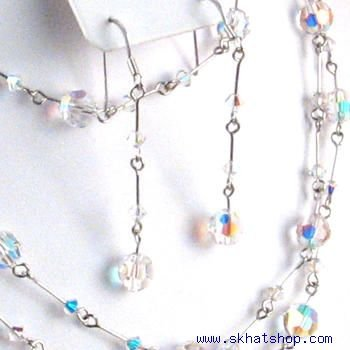 CLEAR AB BEADED SWAROVSKI CRYSTAL NECKLACE EAR RING SET