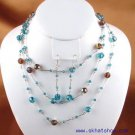 BEADED BLUE TOPAZ SWAROVSKI CRYSTAL NECKLACE EAR RINGS