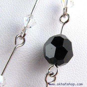 SWAROVSKI AB BLACK CLEAR CRYSTAL NECKLACE EAR RING SET