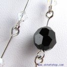 SWAROVSKI AB BLACK CLEAR CRYSTAL NECKLACE EAR RING SET