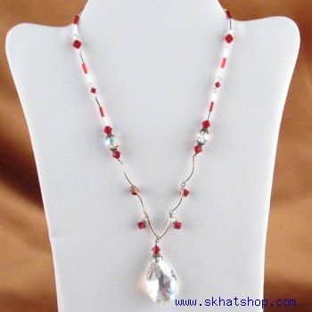 SWAROVSKI AURORA BOREALIS CRYSTAL & RUBY COLORED NECKLACE PENDANT