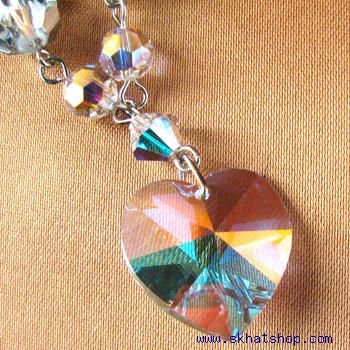 HEART SHAPED, SWAROVSKI CRYSTAL, AURORA BOREALIS NECKLACE WITH BEADS