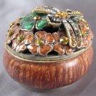 BEJEWELED SWAROVSKI CRYSTALS - DRAGONFLY FLOWER TRINKET RING BOX
