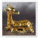 Gold Plated Reclining Giraffe, Trinket, Gift Box with Clear Swarovski Crystals