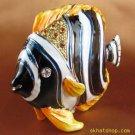 Black Tropical Fish - Gift Jewelry Trinket Ring Box Swarovski Crystals