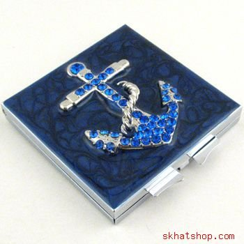 ANCHOR - YACHTING, BLUE VANITY / COMPACT MIRROR with SAPPHIRE SWAROVSKI CRYSTALS