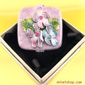 PINK, SQUARE, VANITY MIRRORED COMPACT, FLOWERS AND SWAROVSKI CRYSTALS