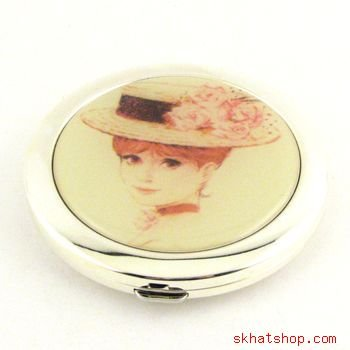 ELEGANT SILVER TONE VANITY COMPACT MIRROR with FLAPPER GIRL - no. 1