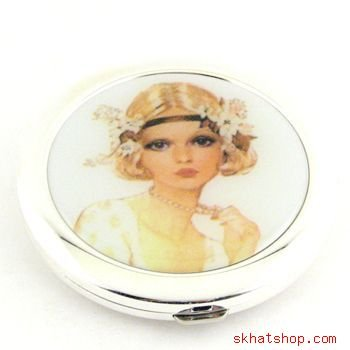 ELEGANT SILVER TONE VANITY COMPACT MIRROR with FLAPPER GIRL - no. 3