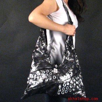 DISTRESSED LOOK, SILVER, BLACK & CRYSTALS SHOULDER BAG / PURSE