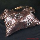 DISTRESSED LOOK, BROWN, SILVER & CRYSTALS - DESIGNER SHOULDER BAG PURSE