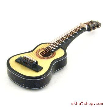 BEIGE WOODTONE HOLLOW BODY CLASSICAL FOLK GUITAR - REFRIGERATOR MAGNET