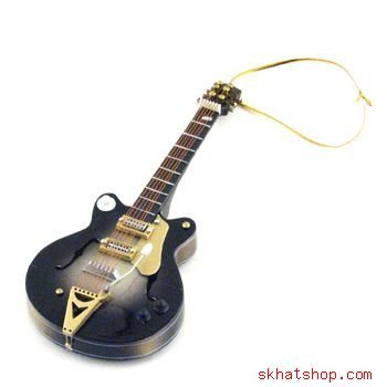 BROWN, HOLLOW BODY ELECTRIC GUITAR - ROCK BAND, CHRISTMAS ORNAMENT