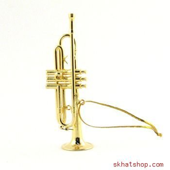 GOLD TONE TRUMPET CORNET MUSIC BAND INSTRUMENT - CHRISTMAS ORNAMENT